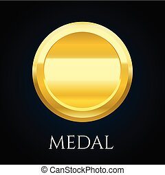 Blank gold medal token, vector illustration of award