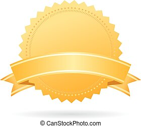 Blank gold medal with ribbon