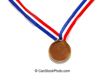 blank gold medal with ribbon on white