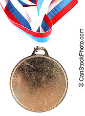 Blank gold medal with three-color ribbon