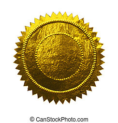 Blank Gold Seal - Empty Notary Seal with Copy Space Isolated...