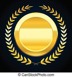 Blank gold token, vector illustration of award with laurel wreath