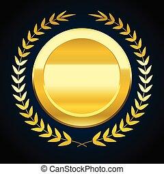 Blank gold token, vector illustration of award with laurel wreath