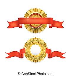 Blank golden award medal with ribbon