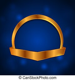 Blank golden circle frame with ribbon luxury background