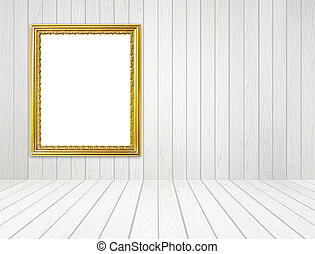 golden frame in room with white wood wall and wood floor backgro