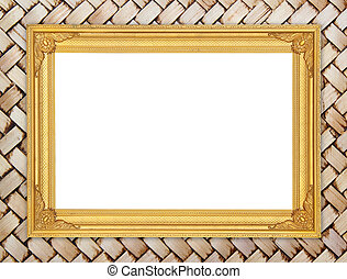 blank golden frame on bamboo texture
