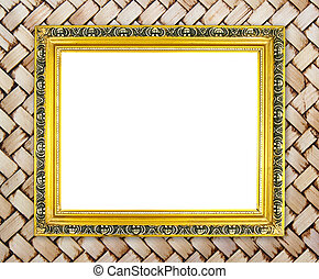 blank golden frame on bamboo texture