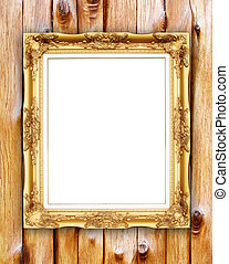 blank golden frame on wood wall background