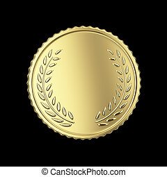 Blank golden medal - Golden medal render isolated with...