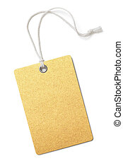 Blank golden paper price or gift tag isolated