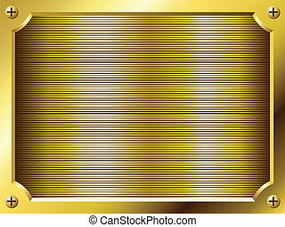 Blank golden plate vector background.