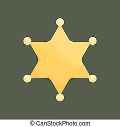 Blank golden sheriff star isolated on dark background.