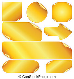 Blank Golden Stickers, Notes, Labels. Set of Vector Design Elements.