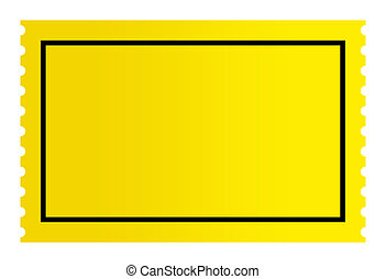 Blank golden ticket isolated on white background.