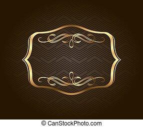 Banner islam ethnic design gold invitation vintage label frame blank golden vintage frame banner label vector eps10 gold decorative with place stopboris Choice Image