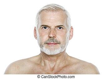 blank, graverende, portræt, senior, udtryk, mand