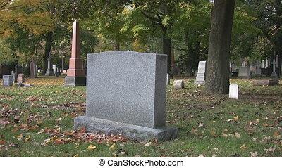 Blank gravestone in cemetery. - A blank cemetery gravestone....