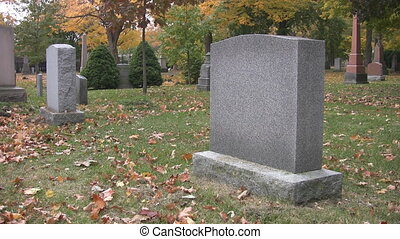 Blank gravestone in cemetery.