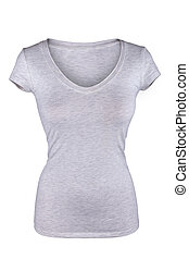 Blank gray female t-shirt isolated on white