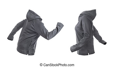 Blank gray hoodie leftside and rightside isolated on a white background