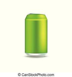 Blank green aluminum soda or beer can mockup.