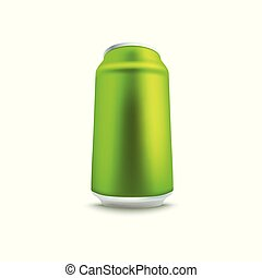 Blank green aluminum soda or beer can mockup in realistic 3d style.