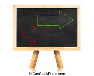 Blank green and red arrow in reverse way on blackboard with easel and reflection on white background, Template to adding your text