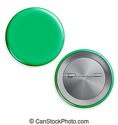 Blank Green Badge . Realistic Illustration. Empty Circle Button Pin. Isolated.