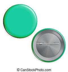 Blank Green Badge Vector. Realistic Illustration. Empty Circle Button Pin. Isolated.