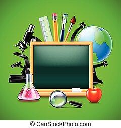 Blank green blackboard and other school tools
