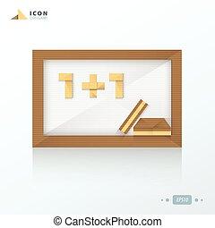 Blank green chalkboard origami icon paper design