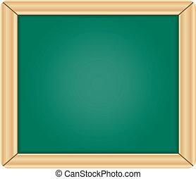 Blank green chalkboard / blackboard with wooden frame...