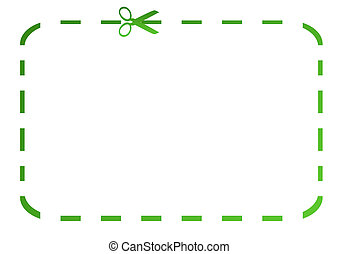 Blank green eco coupon with scissors, isolated on white background.