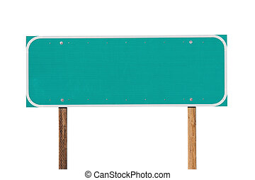 Blank Green Highway Sign Isolated
