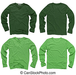 Photograph of two wrinkled blank green and light green long sleeve shirts, fronts and backs. Clipping path included. Ready for your design or logo.