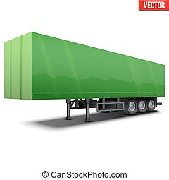 Blank green parked semi trailer