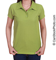 blank green polo shirt on woman isolated on white background