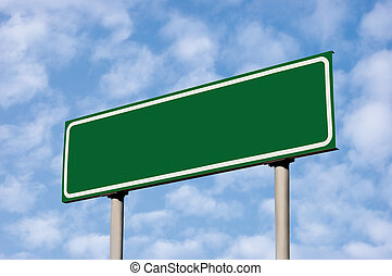 Blank Green Road Sign Against Light Cloudscape Sky