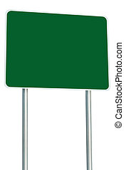 Blank Green Road Sign Isolated, Large Perspective Copy Space