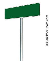 Blank Green Road Sign Isolated, Large White Frame Framed...