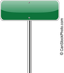 Blank Green Road Sign Isolated on White