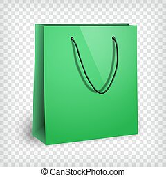 Blank green shopping bag mockup