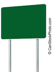 Blank Green Signboard Road Sign Isolated, Large Perspective Copy Space, White Frame Roadside Signpost Pole Post Empty Traffic Signage, White Frame