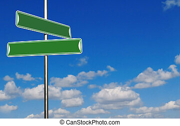 Blank Green Street Name Signs Agains a Bright Blue Sky -...