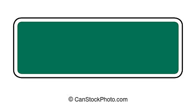 Blank green American style street or road sign with copy space; isolated on white background.