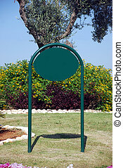 Blank green Street Sign - A Blank green elliptical Sign on a...