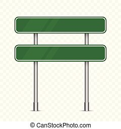 Blank green traffic road sign isolated
