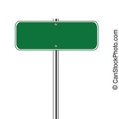 Blank green traffic sign