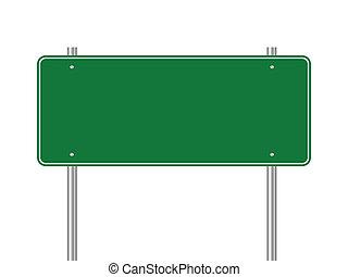 Blank green traffic sign vector illustration